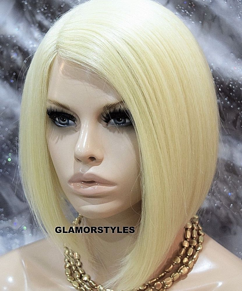 Bob short straight bleach blonde full synthetic wig heat ok hair