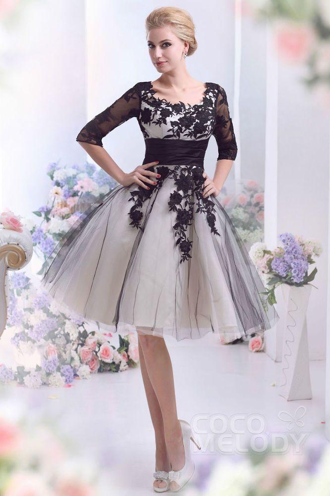 kurz a linie brautkleid hochzeitskleid knielang halbarm t ll mit spitze schwarz elegant wedding. Black Bedroom Furniture Sets. Home Design Ideas