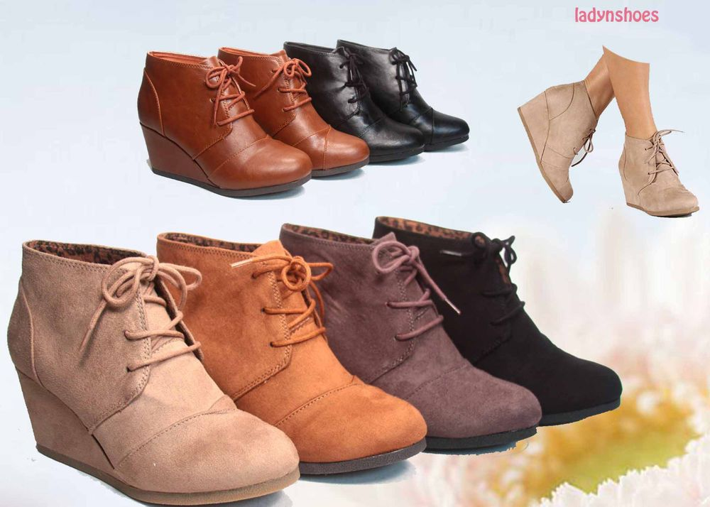 Women's Lace-up Flat Ankle Boots With Low Wedge Inside