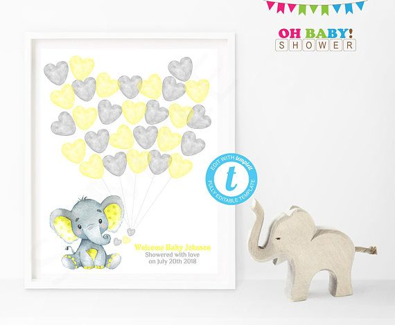 Guest Book Template Yellow Elephant Baby Shower Guest Book  Baby