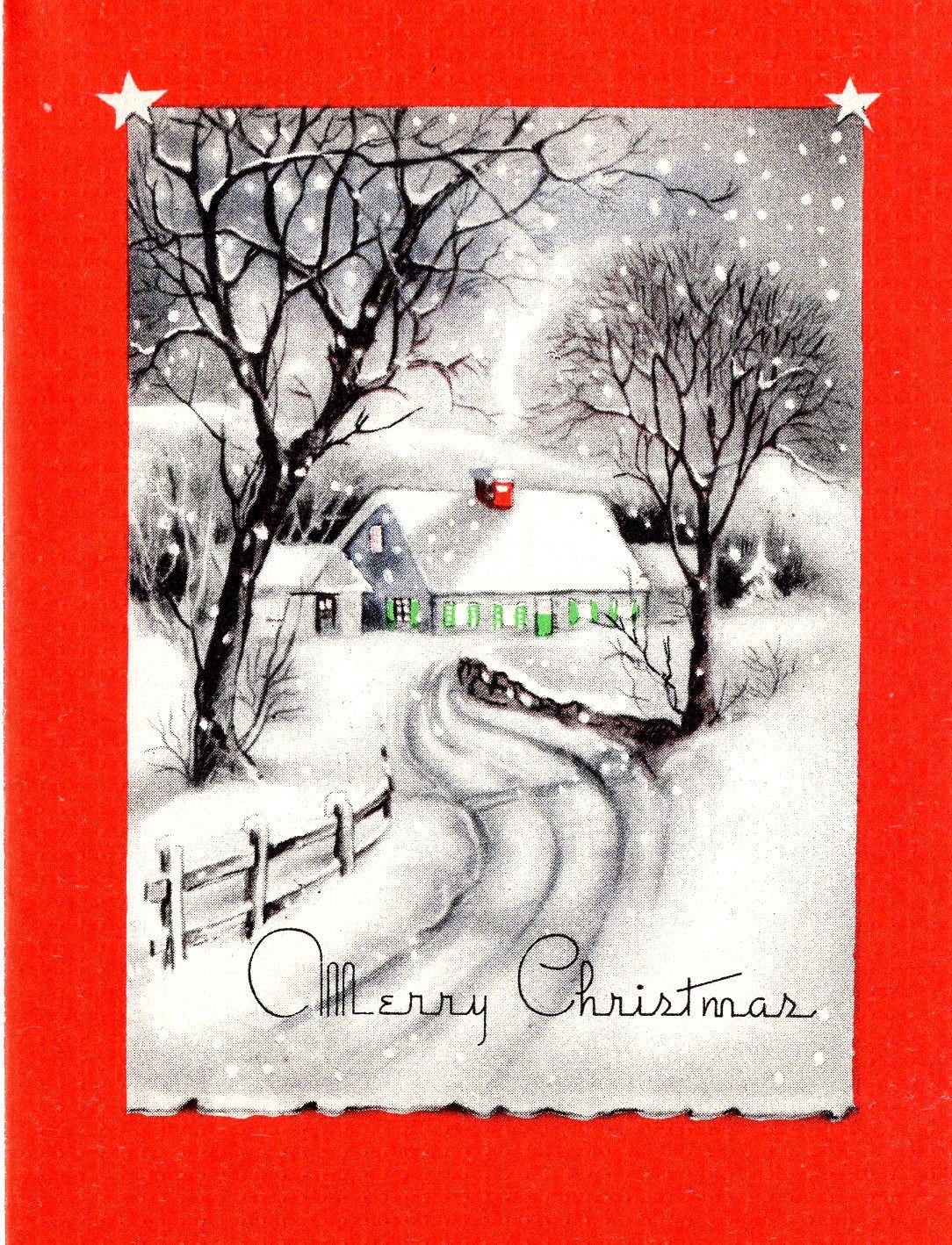 Vintage Christmas Card: House with Green Shutters in Falling Snow ...