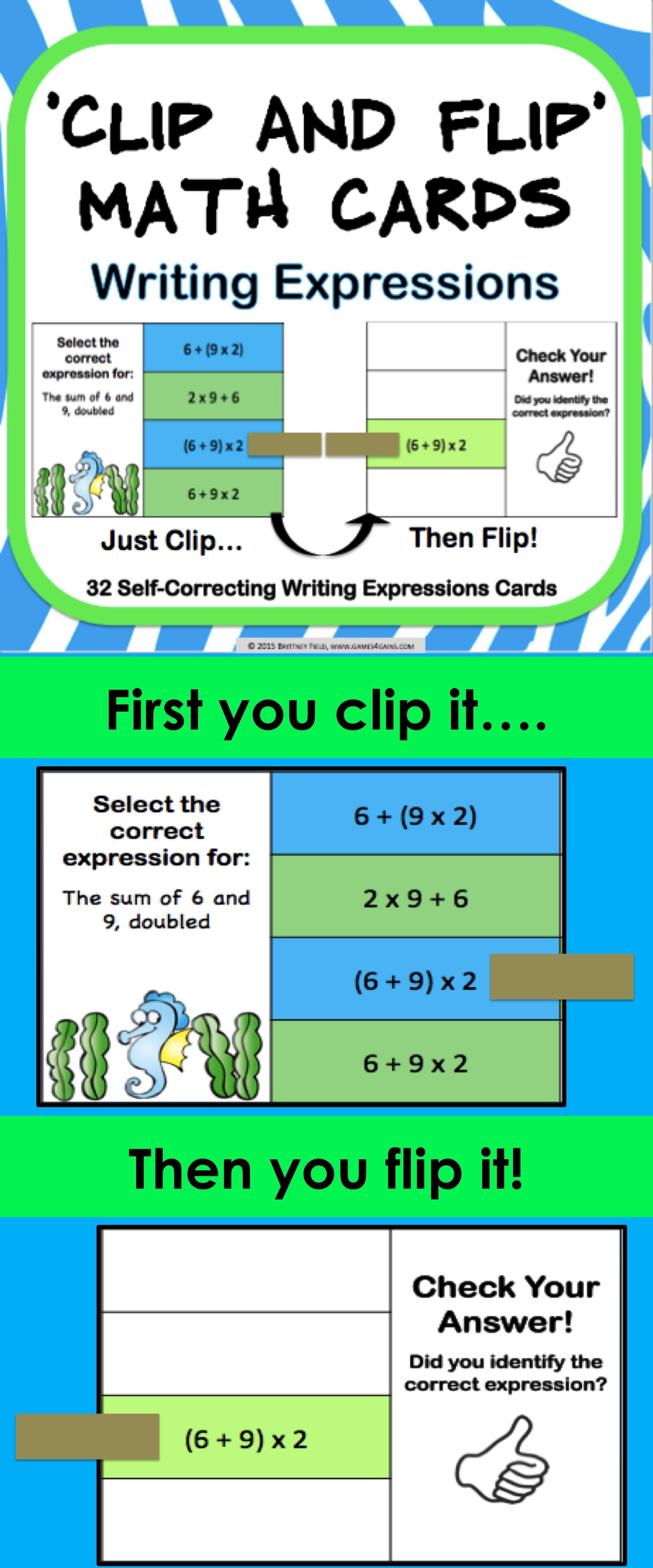 Order Of Operations Clip And Flip Cards Contains 32 Self Correcting Cards To Help Students Practice Wr Writing Expressions Order Of Operations Education Math