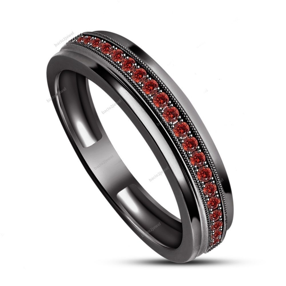 Garnet Ring Bands: Men's Lab Garnet Stone 14k Black Gold Finish 925 Silver