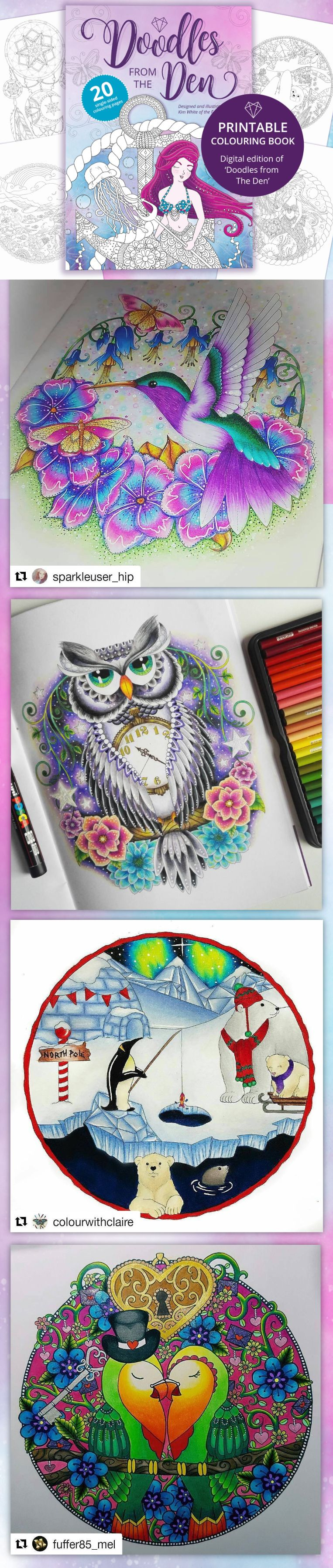 Printable Coloring Books Digital Adult Colouring Cute Pages Book PDF Download Mindfulness Gift Christmas Stress Relief Aid