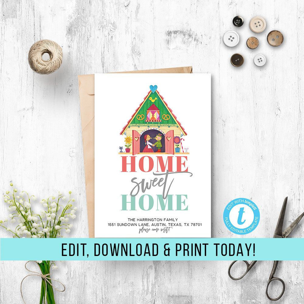 Home Sweet Home Announcement House Announcement Template Etsy New House Announcement Weve Moved Announcements Moving Announcements