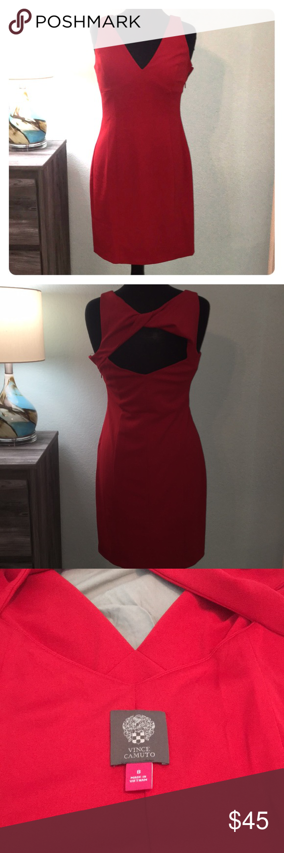 Vince Camuto Red Dress Beautiful Vince Camuto Dress With Open Back Fits Perfect On The Body And Has An Under Slip To Wear With Out A Dresses Red Dress Fashion [ 1740 x 580 Pixel ]