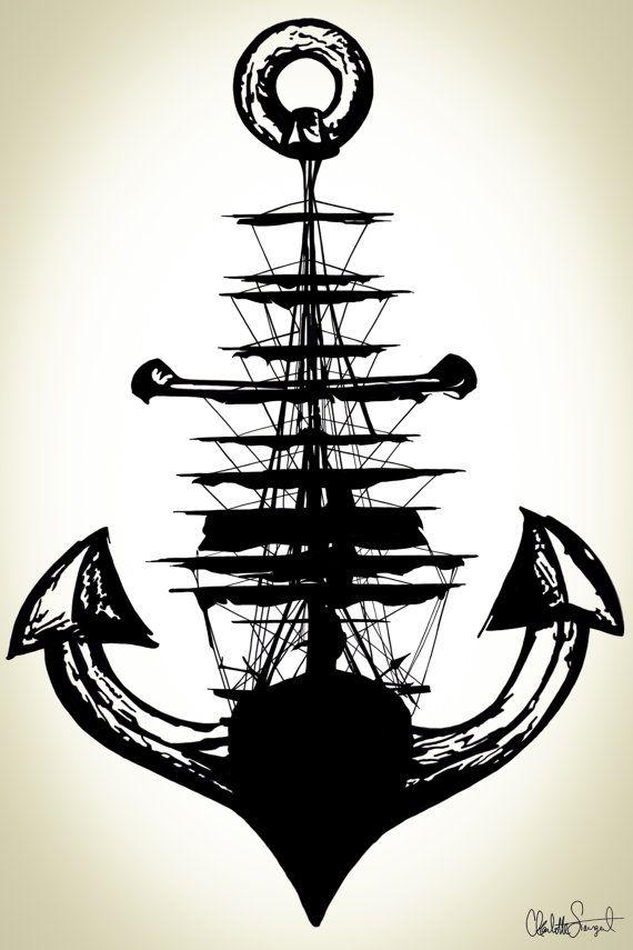 Velero anclaje Poster Print / / náutica arte de por Clarafornia ...