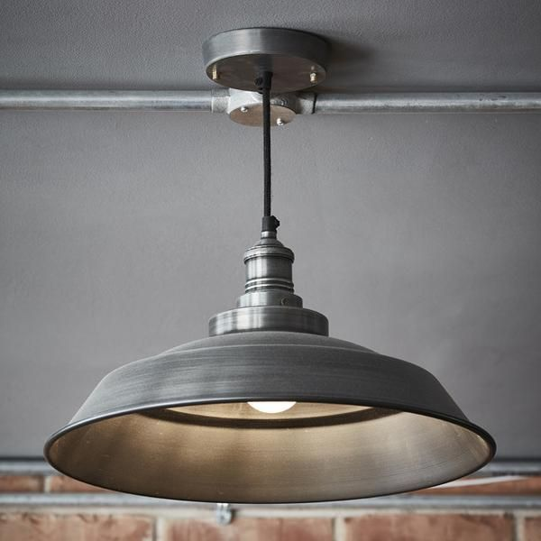 Brooklyn step pendant 16 inch pewter pinterest house brooklyn vintage step metal lamp shade dark grey pewter 16 inch aloadofball Image collections