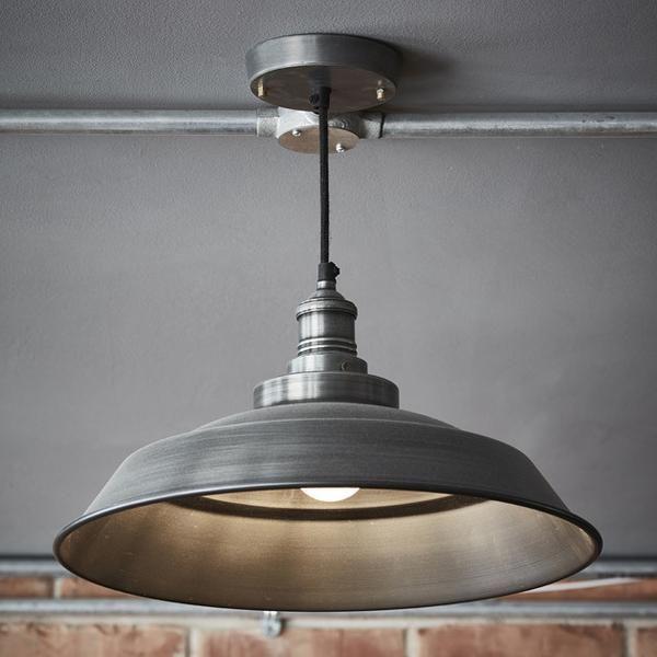 Brooklyn Vintage Step Metal Lamp shade - Dark Grey Pewter - 16 ...