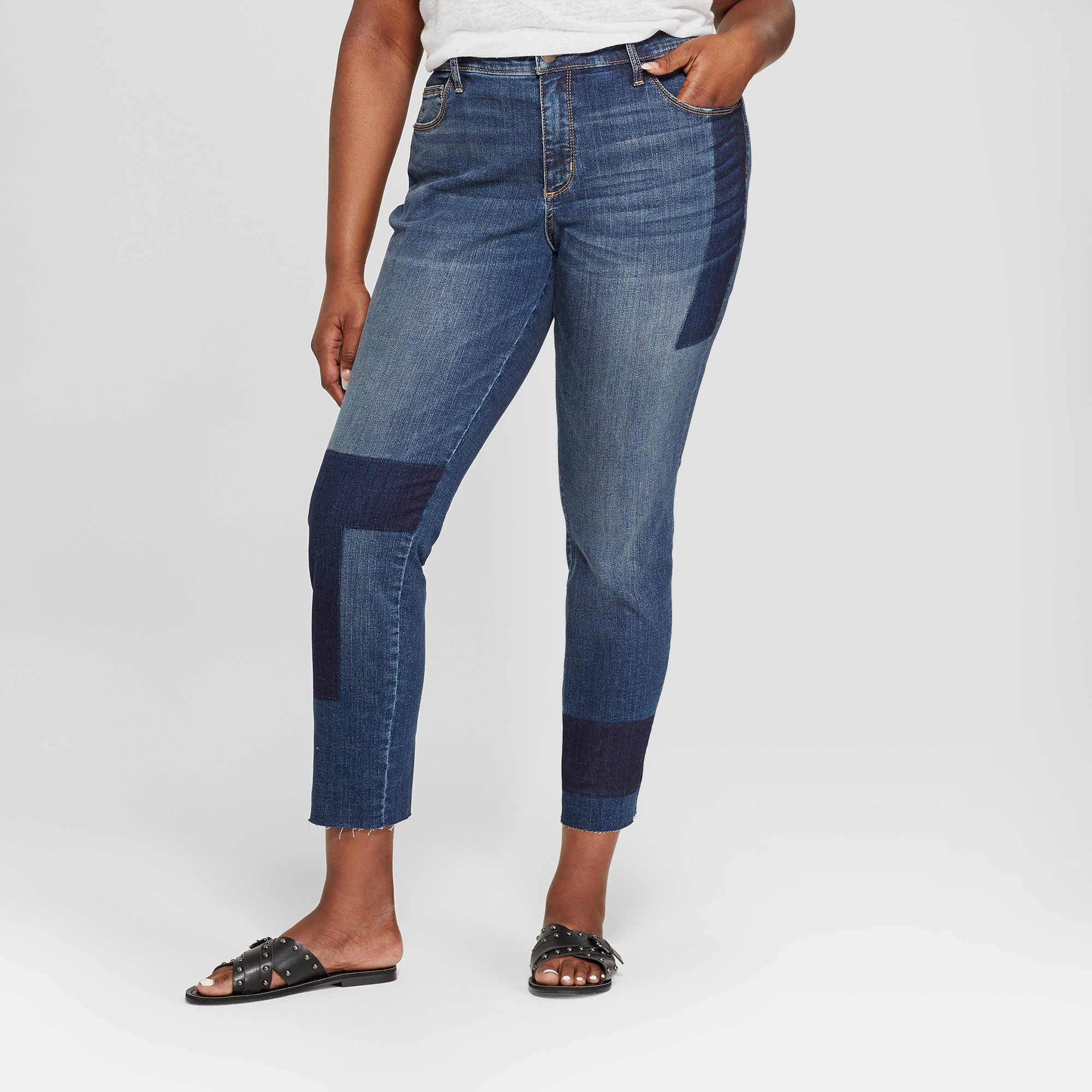 8dc61ecae48 Women s Plus Size Patchwork Skinny Jeans - Universal Thread Dark Wash 26WL