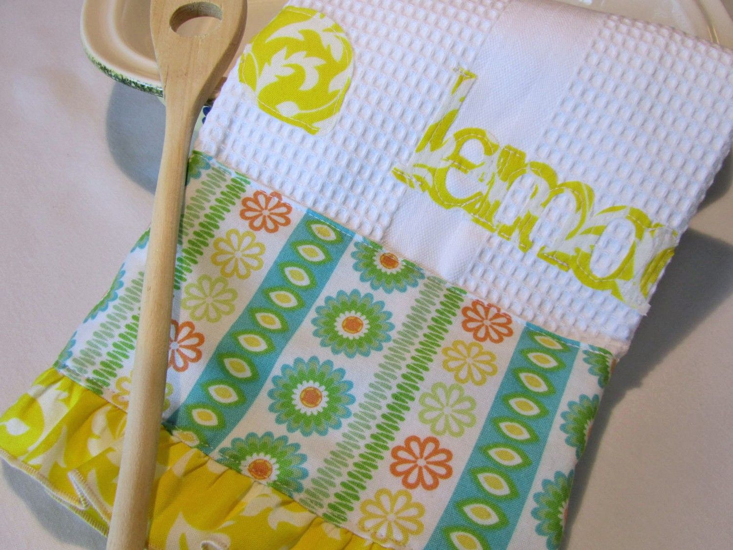 Kitchen Towel with Spring Green Teal Lemon Yellow Accent Fabric and