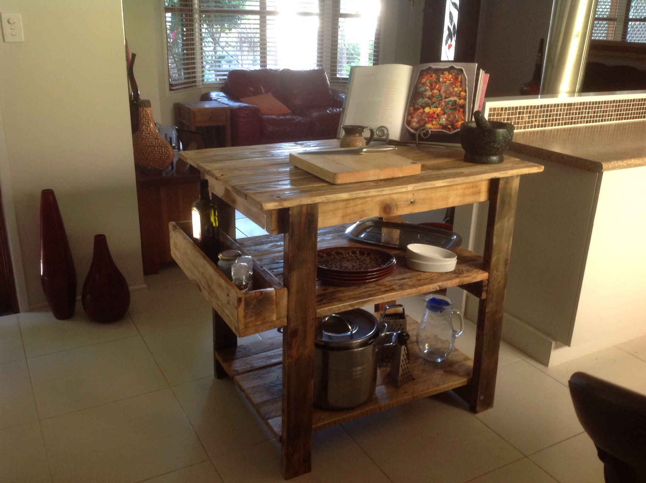 Rustic Kitchen Island Bench Made From Pallet Wood By Touchwood