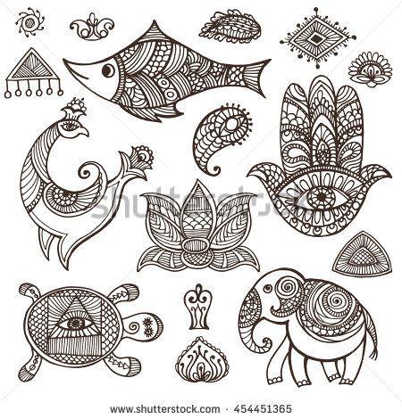Indian Mehndi Decor Elementssymbols Animalfloral Decorctor