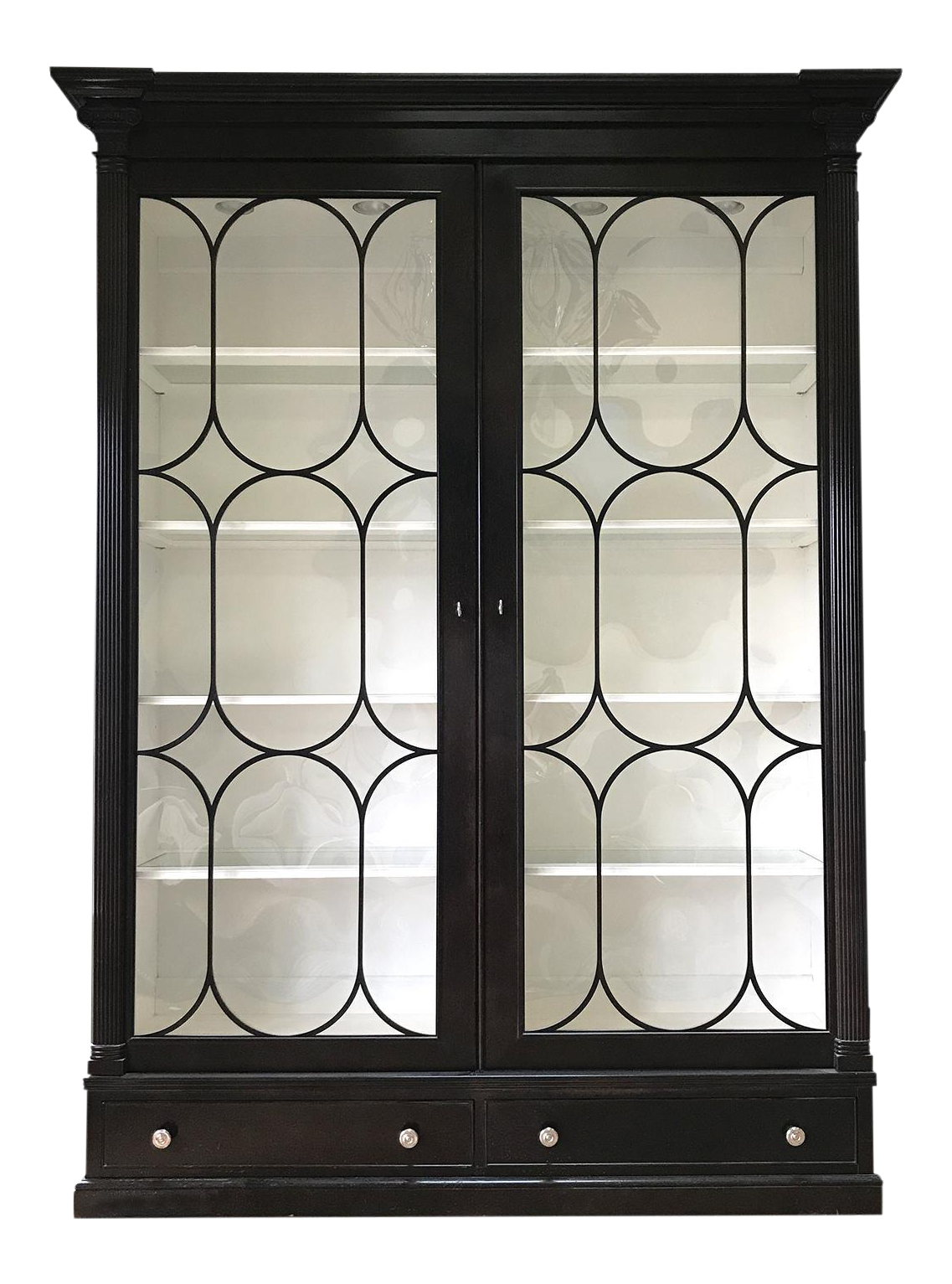 Ralph Lauren Bel Air China Cabinet Polished Black Finish This Dramatic Cabinet Features Oversized Figure Eight Mul China Cabinet Cabinet Black China Cabinet Black china cabinet with glass doors