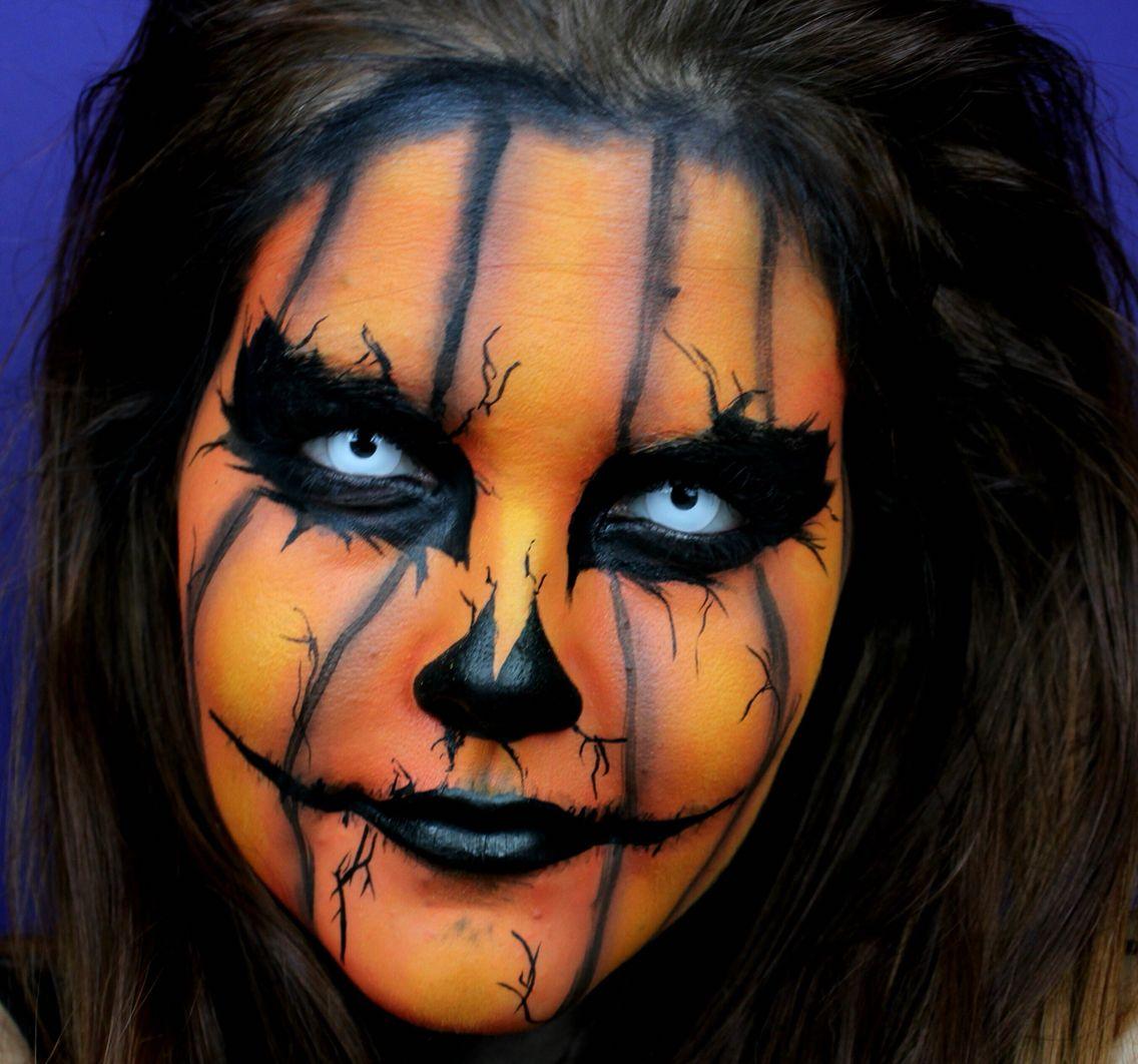 Evil pumpkin Scary Halloween Halloween makeup Scary