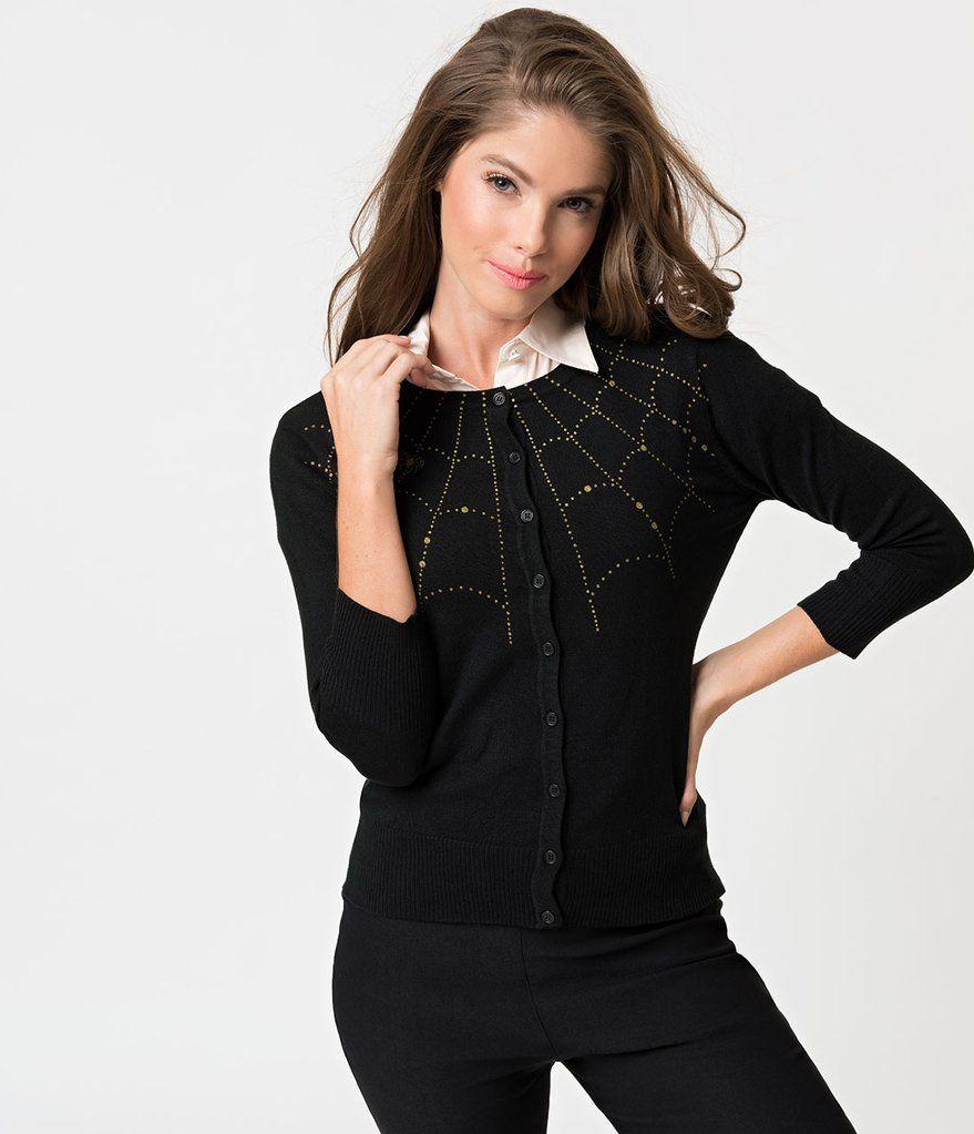 be88ff7e6 Black Knit   Golden Spiderweb Three-Quarter Sleeved Cardigan--Unique Vintage