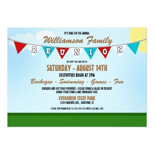 Summer Family Reunion Invitation – Family Reunion Invitation Cards