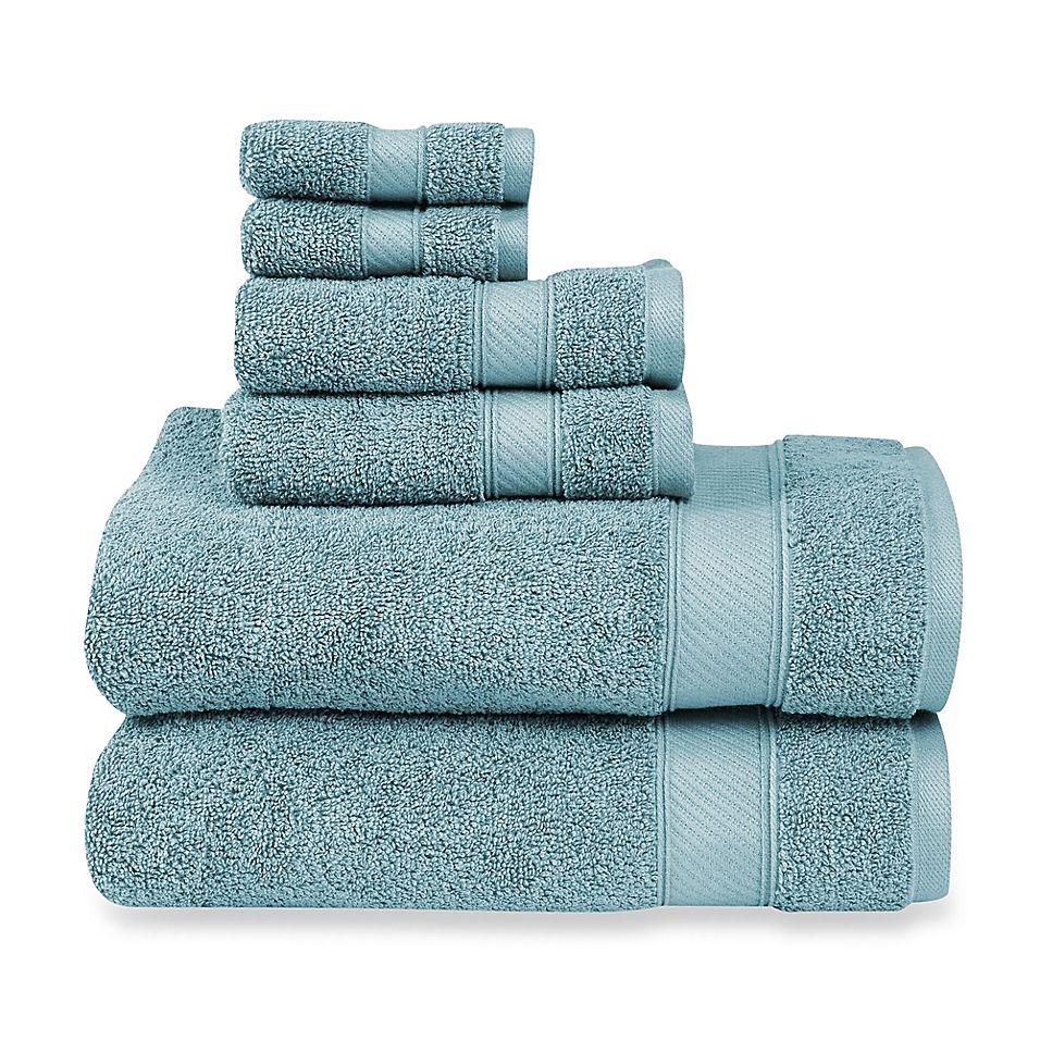 Wamsutta 6 Piece Hygro Duet Bath Towel Set In Cameo Blue Bath