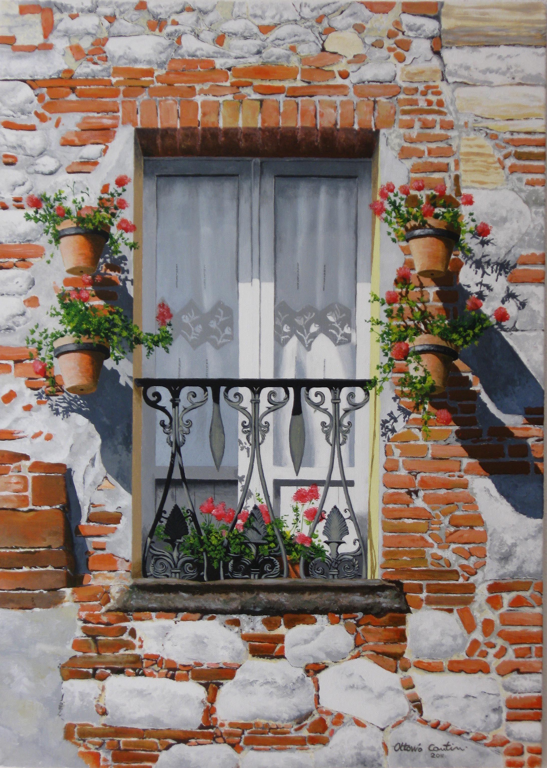 balcone fiorito dipinto a olio su tela Dipinti, Fiori