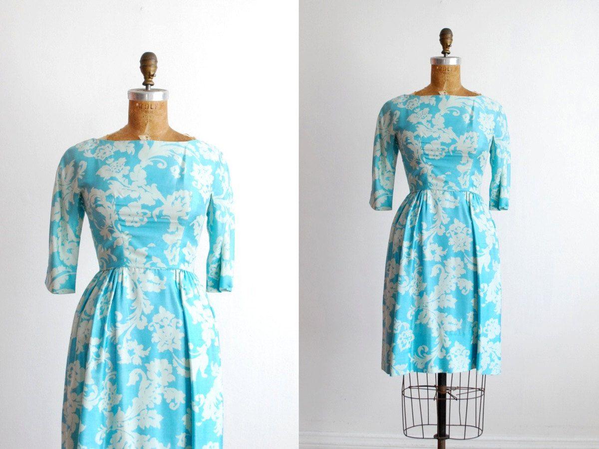 vintage 1950s dress silk 50s dress blue xs by thegreedyseagull, $148.00