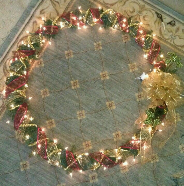 Hula hoop 40 inch christmas wreath for outside total of 15 to make hula hoop 40 inch christmas wreath for outside total of 15 to make yourself why spend a 100 when you can diy items used cut pieces from broken solutioingenieria Image collections