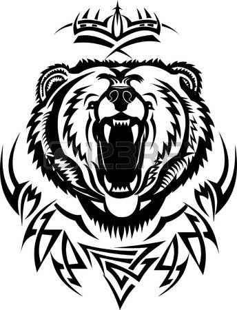 Head Of A Bear Tribal Tattoo Grizzly Illustration Bear Tattoos Tribal Bear Tattoo Bear Tattoo Designs