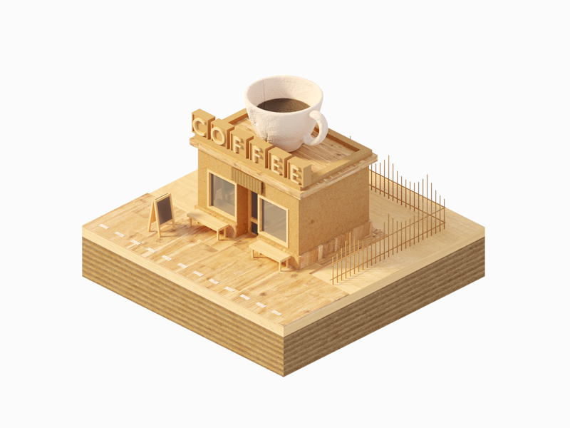 2019 的 Cardboard and Wooden Coffeeshop 主题 | 设计