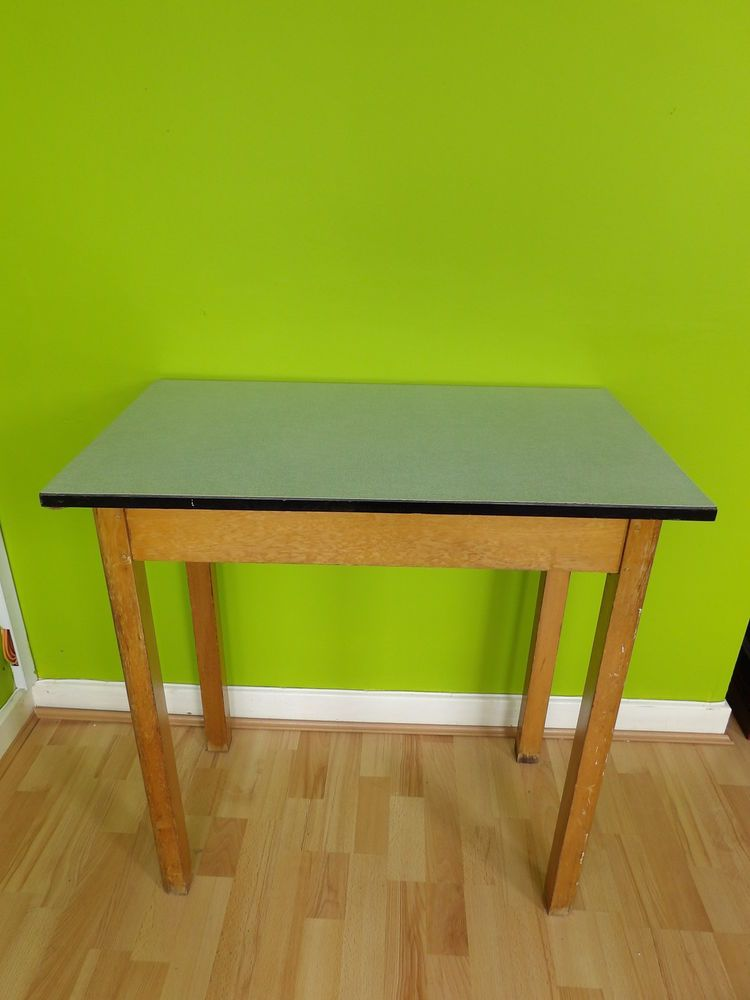 Vintage 60s Wooden U0026 Formica Kitchen / Small Work Table   Pale Green Formica  Top