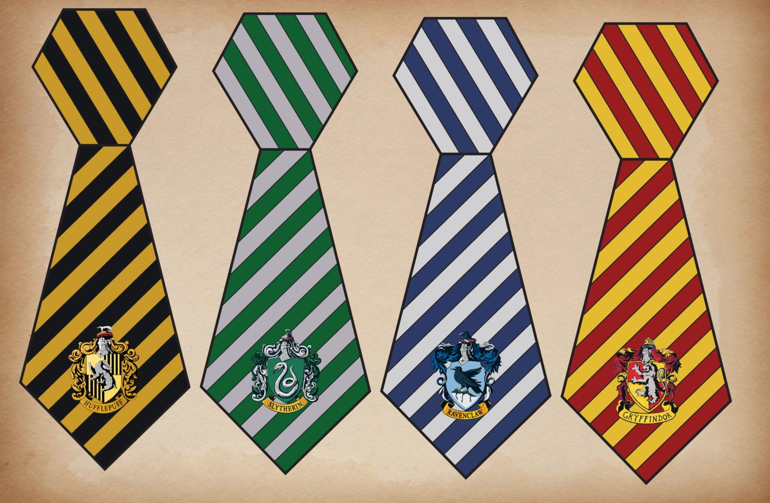 Printable Hogwarts House Ties Harry Potter Crests By LushPartyStuff