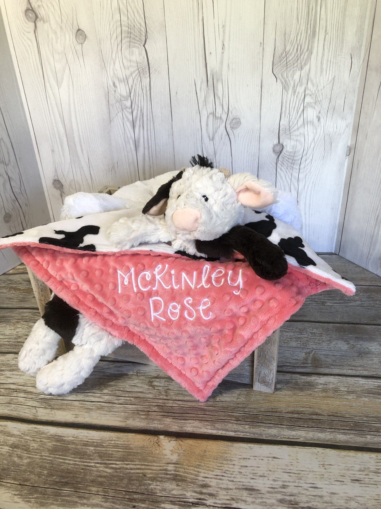 Personalized Cow Security Blanket, Black and White Cow Security Lovey, Girl Cow Lovey, Animal Lovey, Minky Security Blanket, Cow Lovey #securityblankets