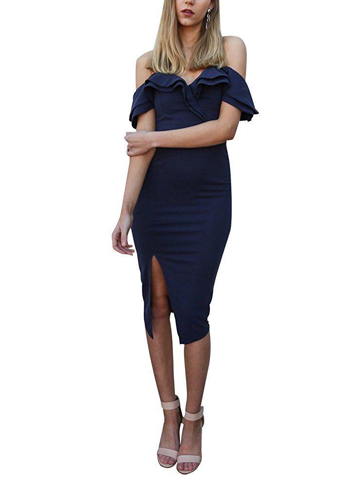 Simplee Apparel Damen Partykleid Elegant Schulterfrei Bodycon Spilt ...