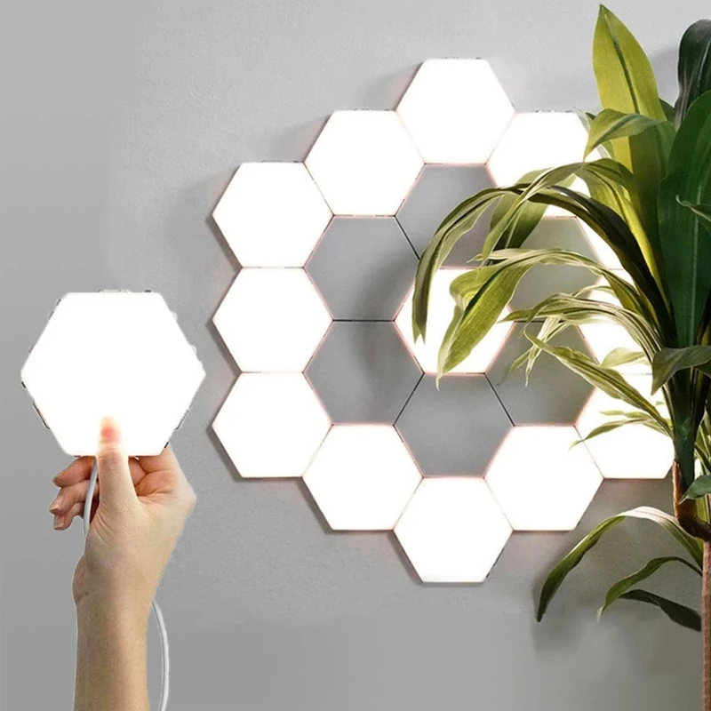 This Is A Modular Light Touch Screen Wall System This Design Allows The User To Effectively Slide Where They Want Or Need Light Touch Lamp Hexagon Modern Lamp