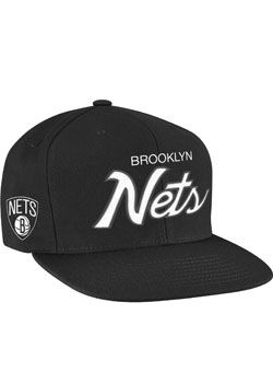 580953d6360 Mitchell   Ness Brooklyn Nets Script Snapback Hat Nba Hats
