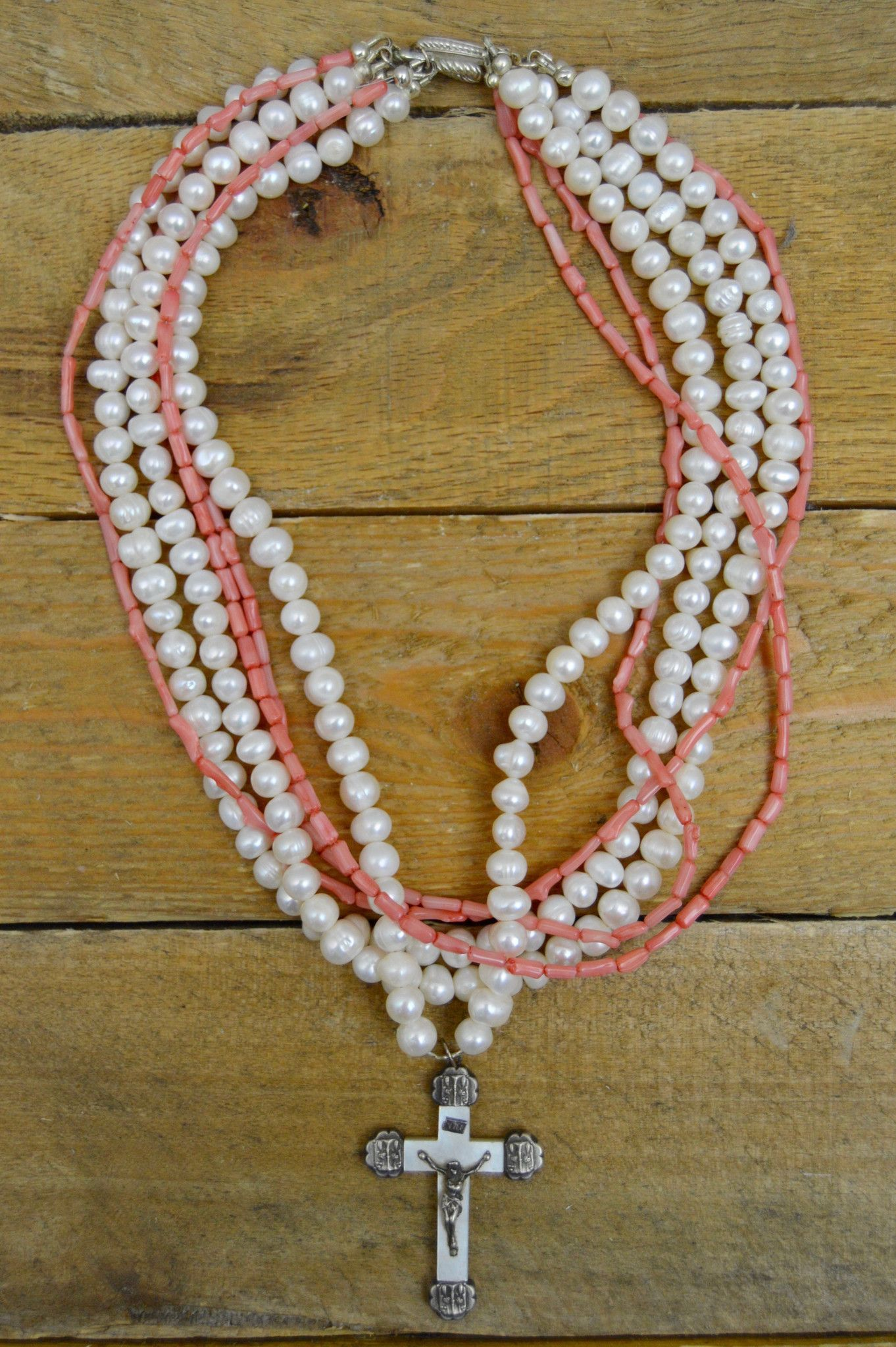 Antique french cross with baroque pearls and coral necklace beads