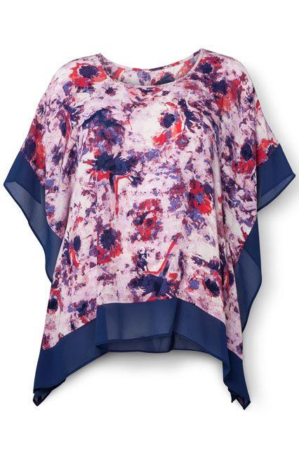 8a6d59f3ab1 AVA   VIV Flutter Top in Blue Purple Floral Print