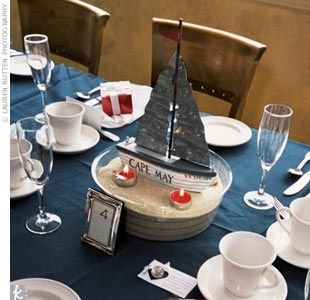 Nautical Centerpiece Idea With Boat Name Table Names Nautical Centerpiece Boat Centerpieces Nautical Themed Party