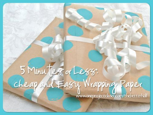 5 minutes or less - cheap and easy DIY wrapping paper by @Jocie @ OPC The Better Half