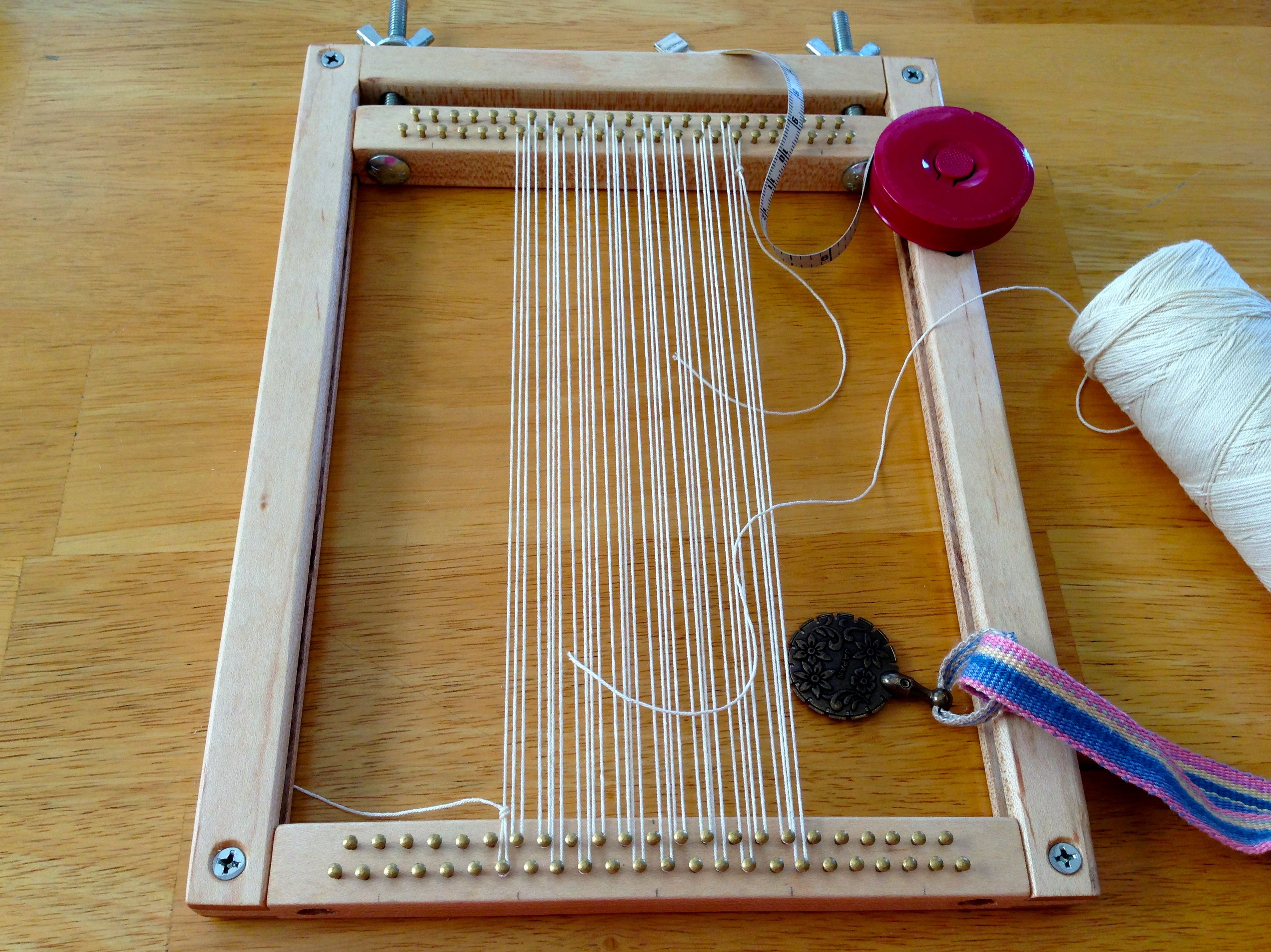 hand built miniature tapestry loom size of an ipad for travel