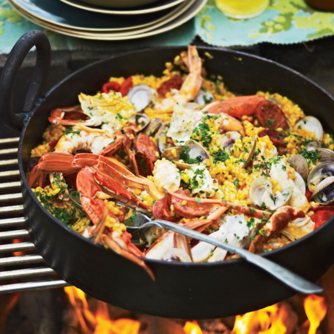 Grilled Seafood and Chorizo Paella - Food & Wine