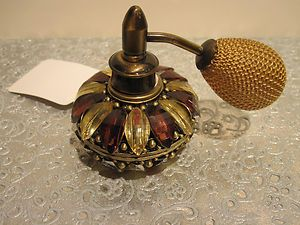 ANTIQUE LOOKING AMBER JEWELED PEWTER / CRYSTAL PERFUME BOTTLE WITH PUMP