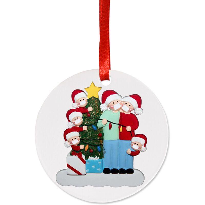 Happyshopping - Masque facial bonhomme de neige pendentif suspendu arbre de Noel, serie de lampes rondes (6 tetes humaines)