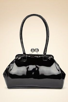 M S Retro Patent Kisslock Handbag