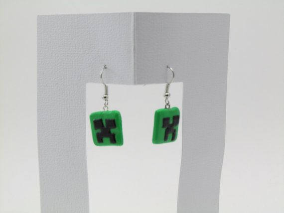 Minecraft creeper inspired earrings by ClayHoliday on Etsy, $5.95