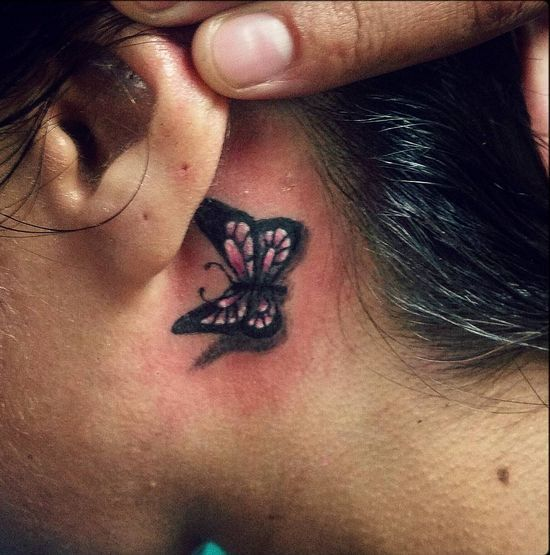 Image Result For 3d Butterfly Tattoos Behind The Ear Tattoo