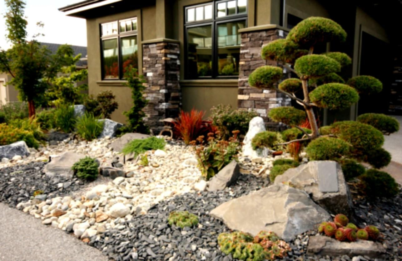 Captivating Garden Landscaping Your Yards For A Better Look House Desert Rock Stone  Warm Ideas Front Yard