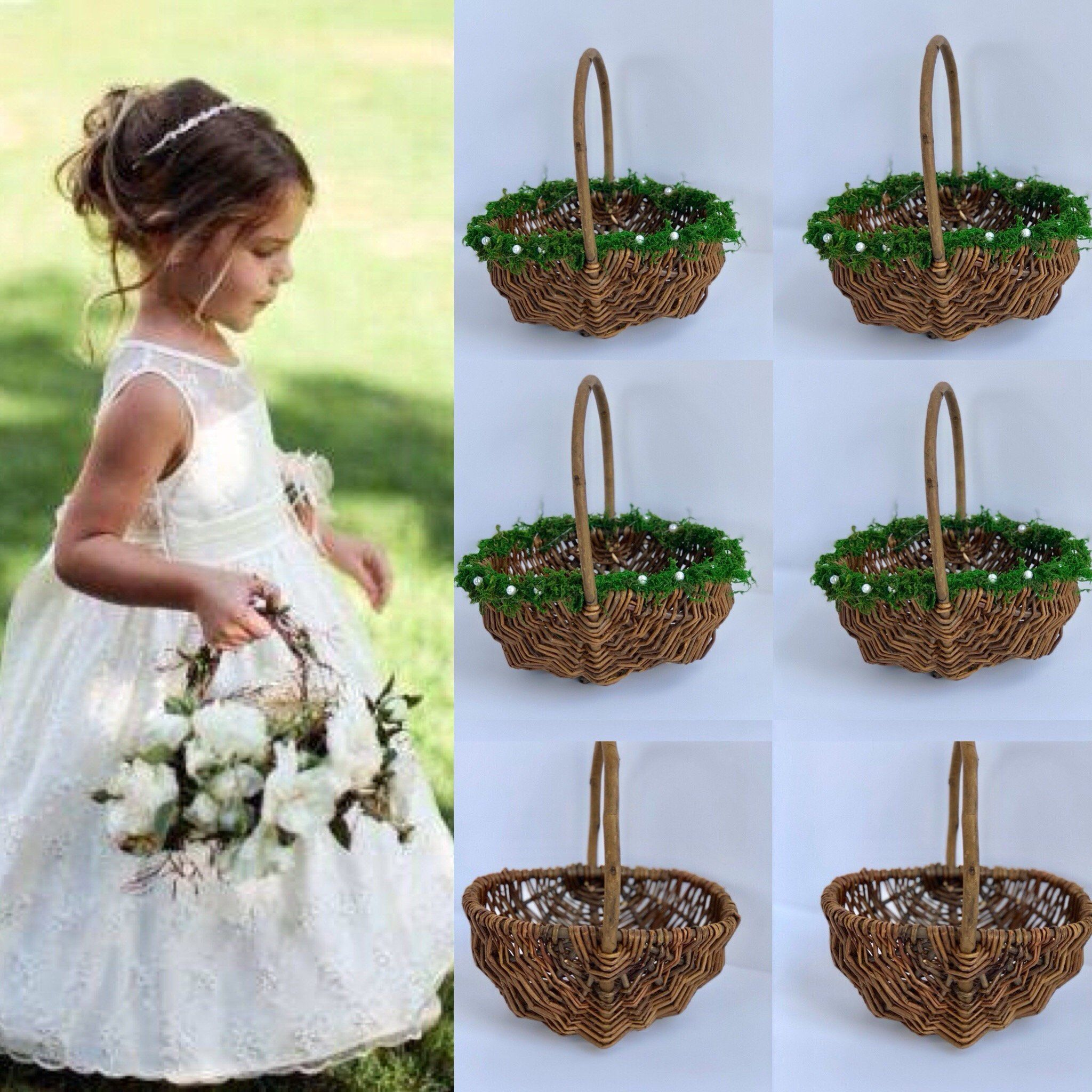 Hand Woven Basket Flower Girl Basket Willow Basket Moss Basket