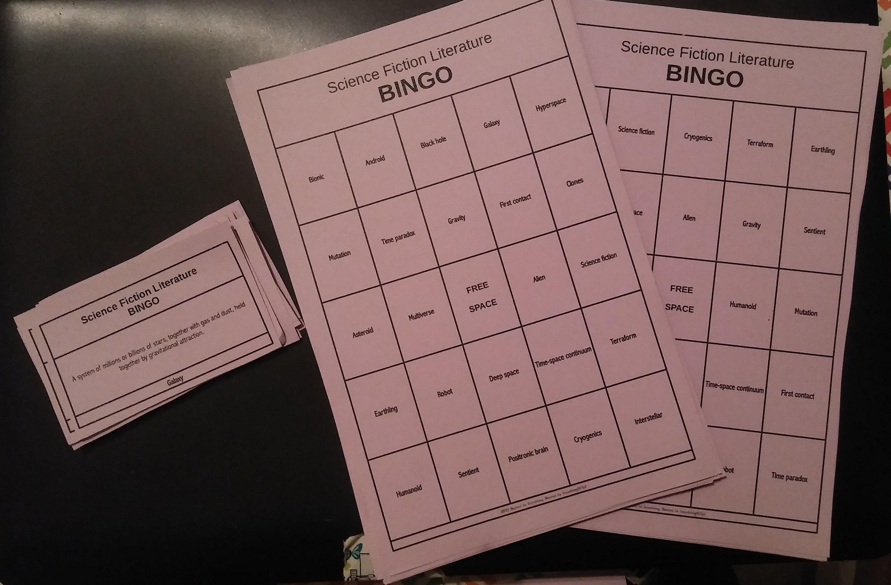 Science Fiction Bingo Amp Flash Cards Vocabulary