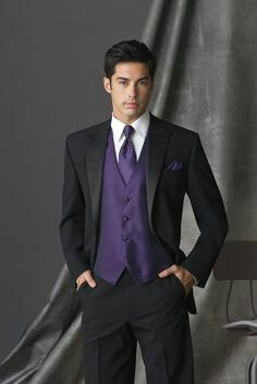 Purple Waistcoat Purple Tuxedo Wedding Tux Vest Tie