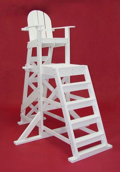 Tailwind Furniture Recycled Plastic TLG535 Tall Lifeguard Chair   With  Front   White