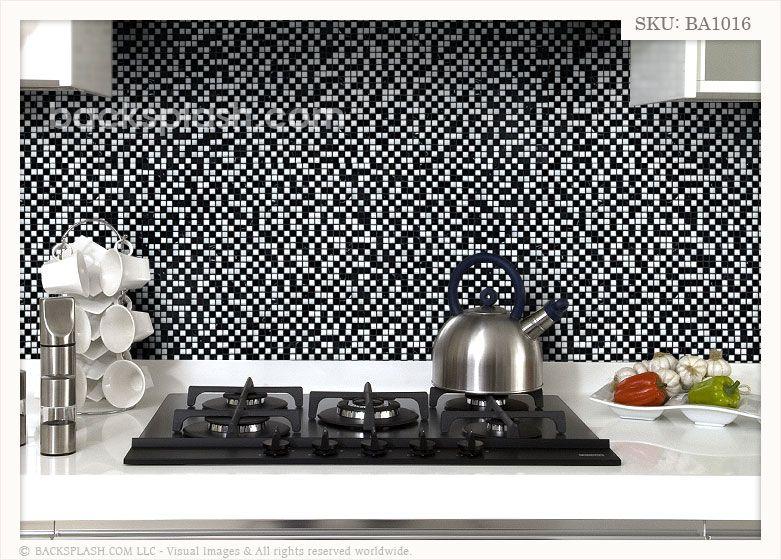 black white mixed backsplash tile the impressive glass marble mixed kitchen backsplash tile used - Black And White Kitchen Backsplash